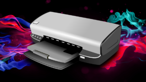 A printer concept with a colourful background