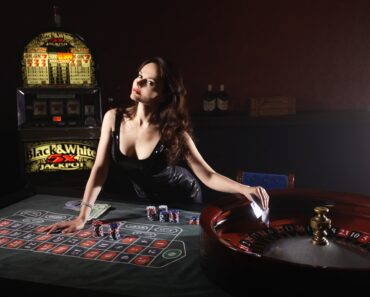 A female croupier