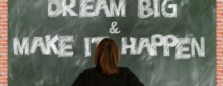 Dream big written on a blackboard