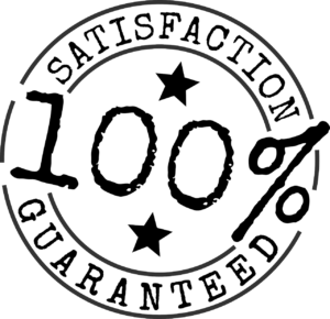 A 100% satisfaction guarantee stamp