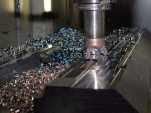 An industrial milling machine in action