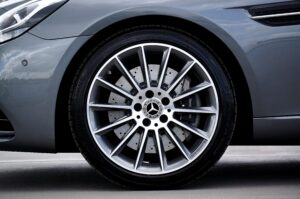 Alloy wheels on an expensive Mercedes