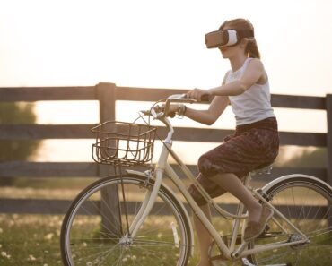 Wearing an augmented reality headset on a bike
