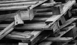 Broken wooden pallets