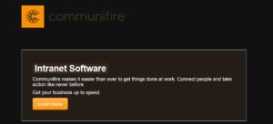A screenshot of the Communifire website