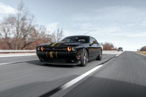 A black Dodge Challenger Coupe