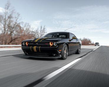 A black Dodge Challenger Coupe