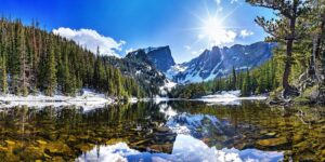 Mountains and a lake create a scenic landscape
