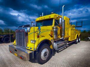 A yellow semi truck
