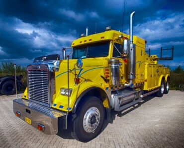 A yellow semi truck