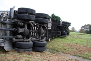 A semi truck overturned in an accident