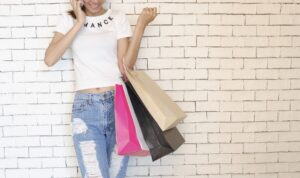 A woman holding shopping bags
