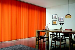 Orange curtains in a modern room