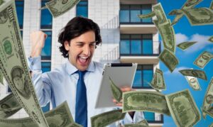 A very happy man winning money