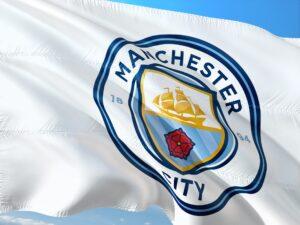 A Manchester City football club flag
