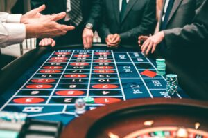 Poker players in a casino