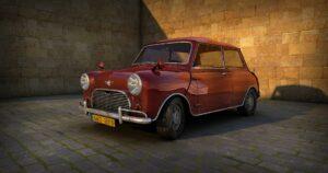 A vintage Mini car