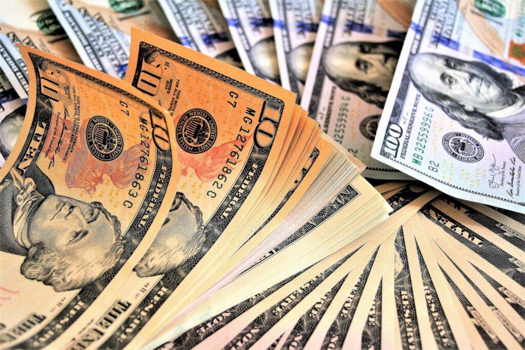 Wads of dollar bills