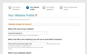 Amazon affiliate program register page