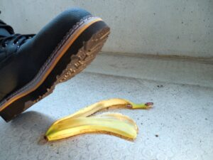 Treading on a banana skin - an accident about to occur