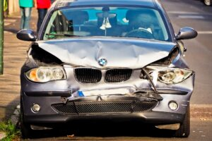 Accident damage to a BMW car