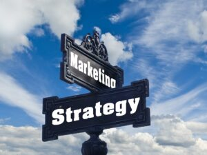 "A street sign saying ""marketing strategy"""