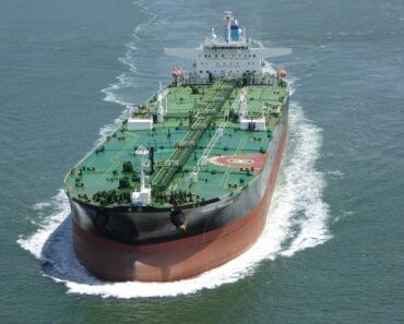 A large oil tanker at sea