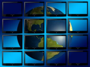 An image of earth displayed on a video wall