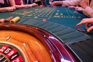 Playing roulette in a casino