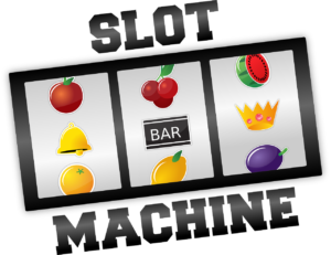 A slot machine depiction