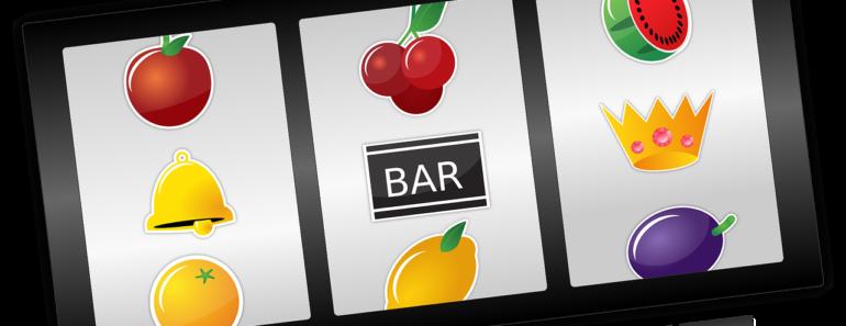 A slot machine depiction