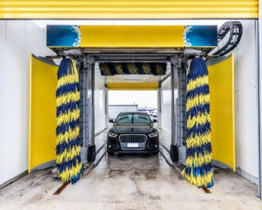 An automated car wash in action