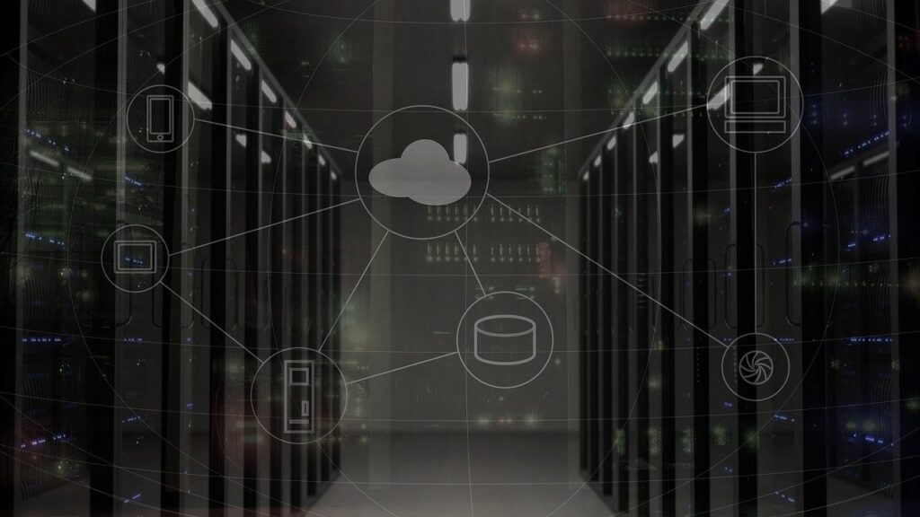 A cloud computing with networked servers concept