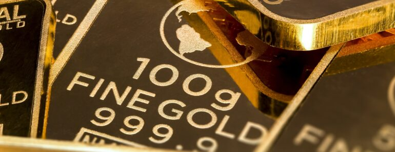 Gold ingots in close up