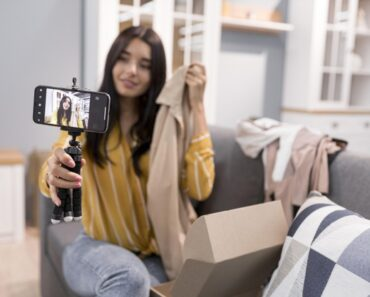 A female vlogger marketing clothes