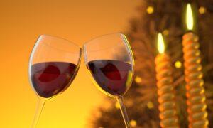 Wine glasses in a festive setting