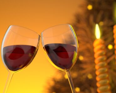 Wine glasses in a festive setting
