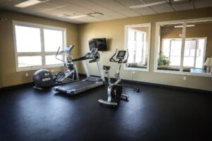 A home gym with a stepper, treadmill and indoor bike