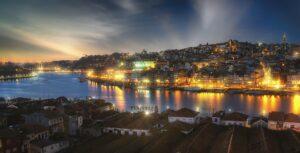 Porto in Portugal at night time