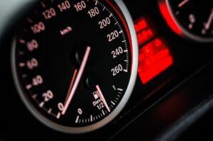A speedometer in closeup