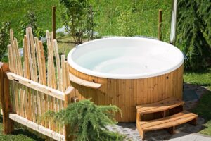 A whirlpool hot tub