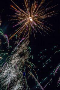 A fireworks starburst