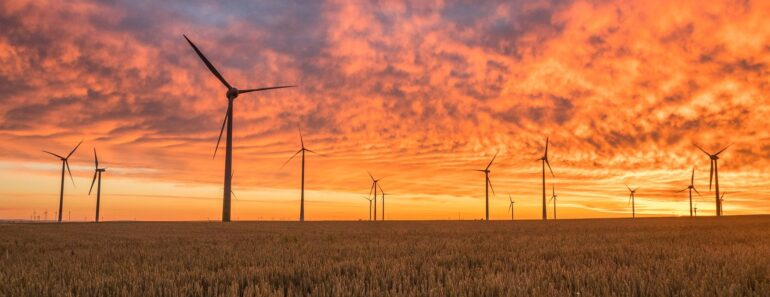 A wind farm at sunset