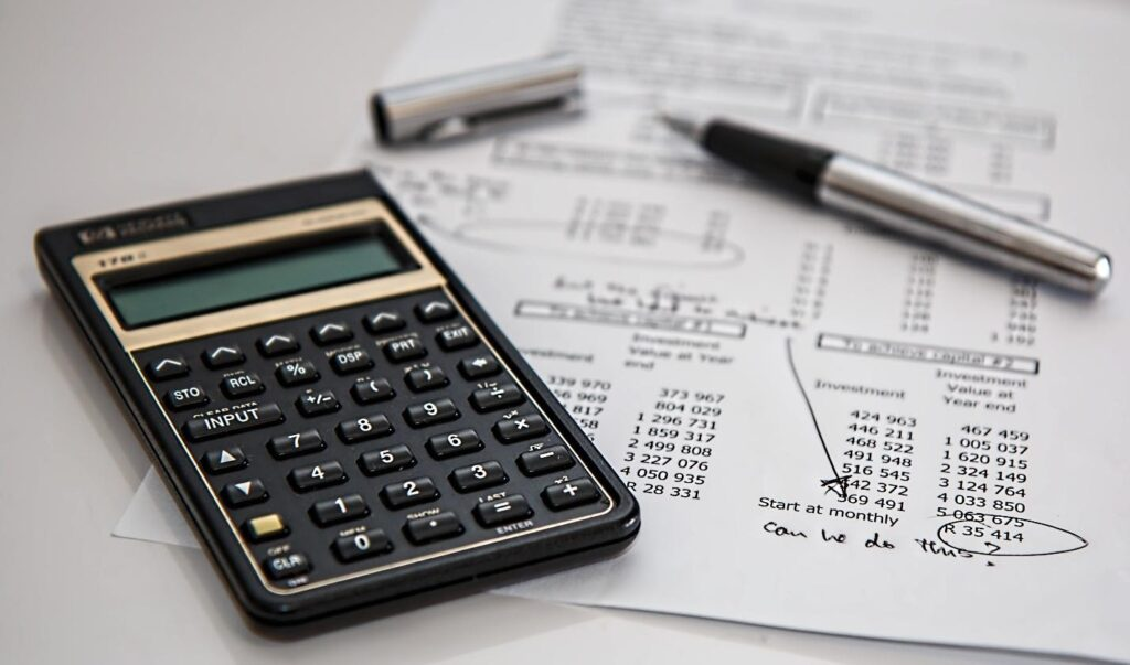 Accountancy with a calculator and a pen