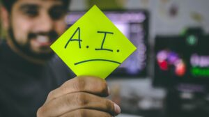 AI written on a post it note