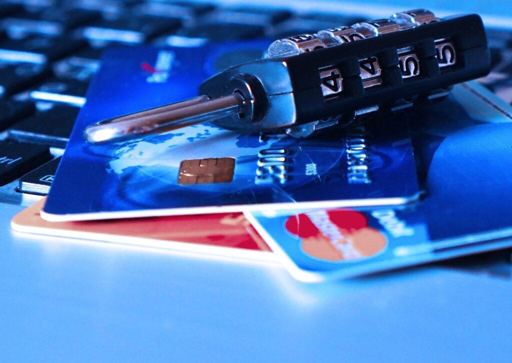 Credit cards and a padlock