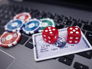 Gambling dice and a credit card in a casino