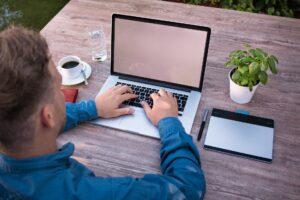 An employee using a laptop