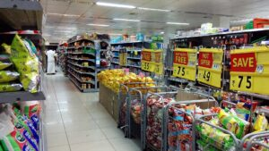 Supermarket shopping aisle