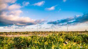 Wind turbines in a wind a farm